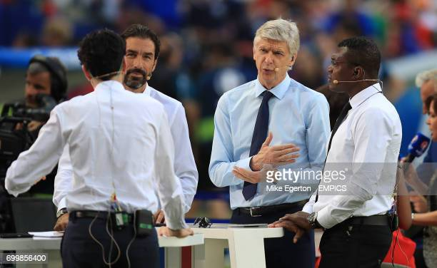 beIN Sports pundits Robert Pires Arsene Wenger and Marcel Desailly before the game