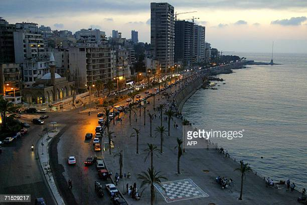 A general view shows people walking on Beirut's corniche 27 July 2006 Lebanese said today they feared a ceasefire was just a distant hope after the...