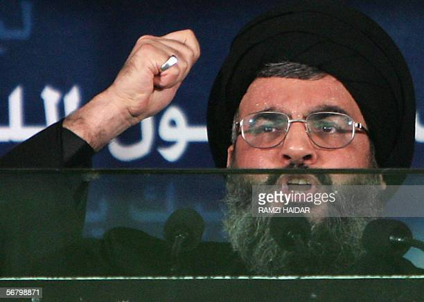 Hezbollah Shiite movement's leader Hassan Nasrallah gives a speech during a ceremony to mark Ashura in southern Beirut 09 February 2006 Nasrallah...