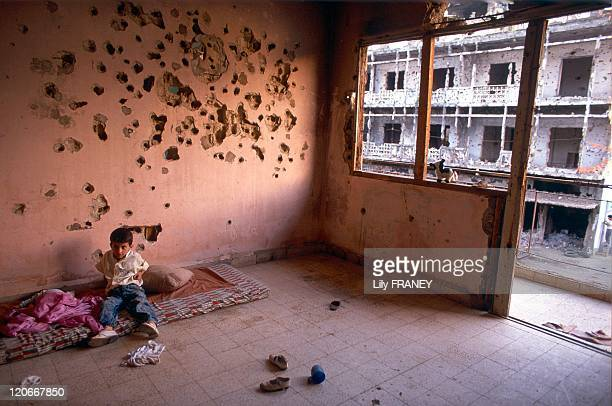 Beirut Lebanon in May 1991 Families reoccupy the apartments destroyed by war