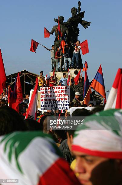 Members of the Armenian community in Lebanon hold a protest in downtown Beirut 12 October 2006 against the participation of Turkish troops in the...