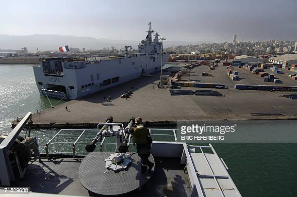 Picture taken onboard French war ship Siroco shows the French Navy ship 'Mistral' anchored at the port in Beirut 28 July 2006 to evacuate foreign...
