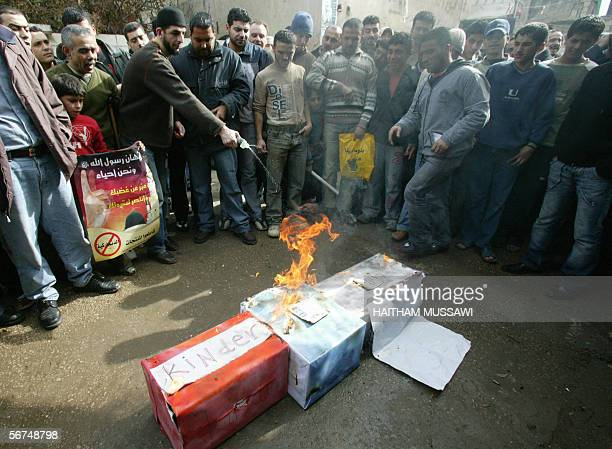 Protestors in the Palestinian refugee camp of Burj alBarajneh southern suburbs of Beirut demonstrate 03 February 2006 against the publication of...