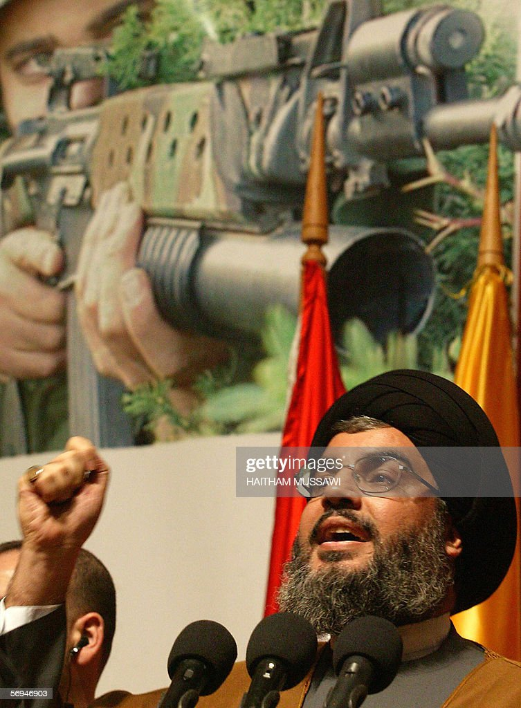 Sheikh Hassan Nasrallah, the head of the Lebanese Shiite Muslim movement Hezbollah, gives a speech to mark the anniversary of assassination by Israel of its secretary general Sheikh Abbas Musawi, 16 February 2006 in Beirut. The Hezbollah group commemorated today the 14th anniversary of the death of its slain former leader, Sheikh Abbas Musawi, in an Israeli helicopter attack and the 20th anniversary of the killing of Sheikh Ragheb Harb, another Hezbollah leader, by unidentified gunmen