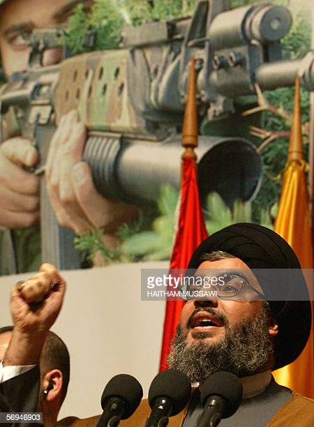 Sheikh Hassan Nasrallah the head of the Lebanese Shiite Muslim movement Hezbollah gives a speech to mark the anniversary of assassination by Israel...