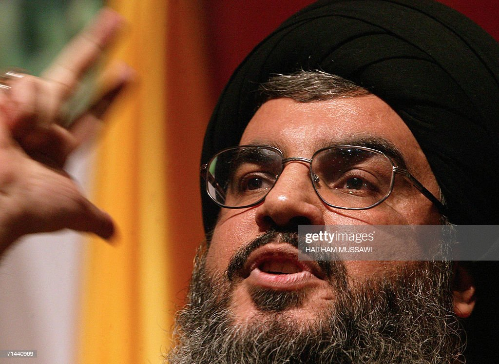 Sheikh <a gi-track='captionPersonalityLinkClicked' href=/galleries/search?phrase=Hassan+Nasrallah&family=editorial&specificpeople=615774 ng-click='$event.stopPropagation()'>Hassan Nasrallah</a>, the head of the Lebanese Shiite Muslim movement Hezbollah, gives a speech to mark the anniversary of assassination by Israel of its secretary general Sheikh Abbas Musawi, 16 February 2006 in Beirut. Israeli jets stuck Nasrallah's headquarters in Beirut's southern suburbs 14 July 2006, an AFP journalist witnessed. Israel pounded Lebanon for the third straight day today, targeting Hezbollah's power base in relentless attacks that have killed about 60 people and left world powers scrambling to avert all-out war in the region.