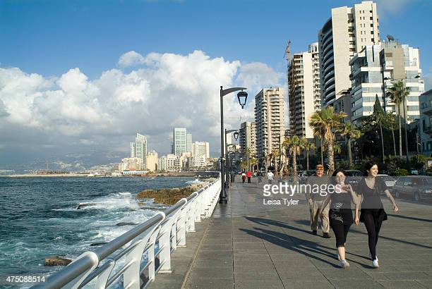 Beirut's Corniche a spacious palm fringed boardwalk that hugs the sides of the Mediterranean All of Beiruts denizens come to promenade in the...