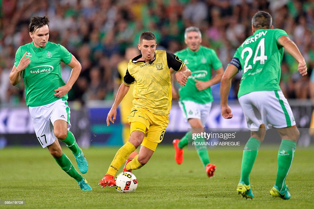 Beitar Jerusalem's Israeli forward Idan Vered runs with the ball during the UEFA Europa League playoff football match between AS SaintEtienne and...