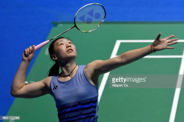 Beiwen Zhang of the United States plays a return shot to Sun Yu of China in the women's singles during the round two of the 2017 World BWF Super...
