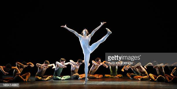 Bejart Ballet dancer Oscar Chacon performs at Igor Stravinsky's 'The Rite of Spring' in the Bolshoi Theatre in Moscow on April 3 2013 The renowned...