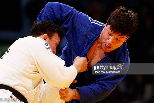Beka Gviniashvili of Georgia and Tuvshinjargal Gan of Mongolia compete during the Dusseldorf Judo Grand Prix in their Mens 100kg bout held at...