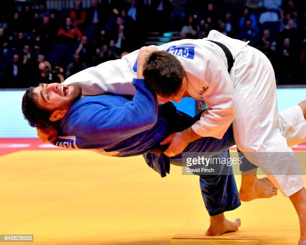 Beka Gviniashvili of Georgia throws Khusen Khalmurzaev of Russia without a score Gviniashvili eventually won the u90kg final and the gold medal by an...