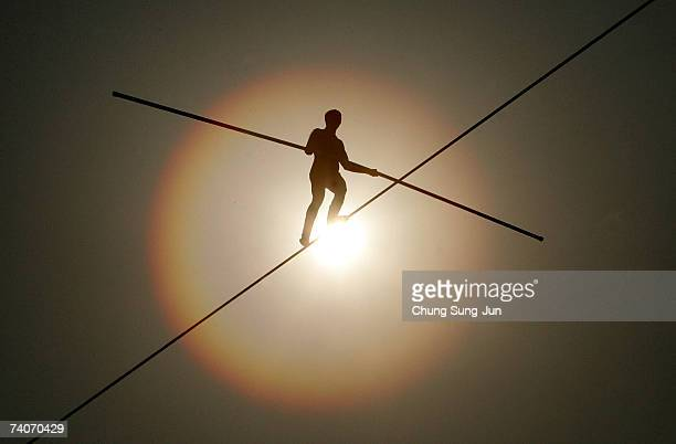 Bekhzod Tashkenbaev of Uzbekistan participates in the first World High Wire Championships over the HanGang River on May 3 2007 in Seoul South Korea...