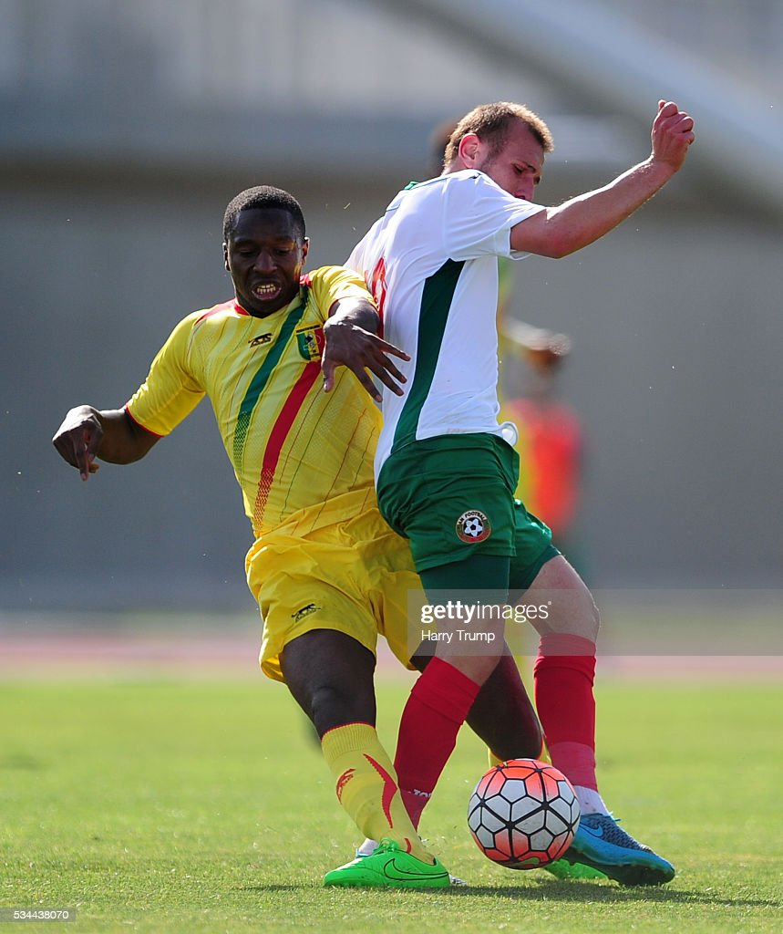 Bekir Rasim of Bulgaria is tackled by Phousseyne Diaby of Mali during the Toulon Tournament match between Mali and Bulgaria at the Stade Leo Lagrange on May 26, 2016 in Toulon, France.