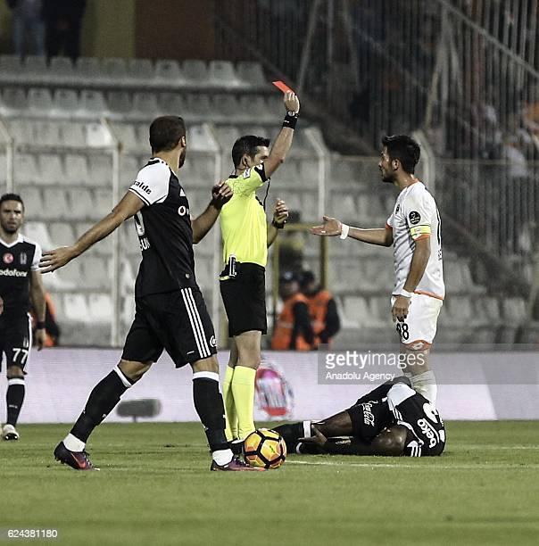 Bekir Yilmaz of Adanaspor receives a red card during the Turkish Spor Toto Super Lig match between Adanaspor and Besiktas at Adana 5 Ocak Fatih Terim...