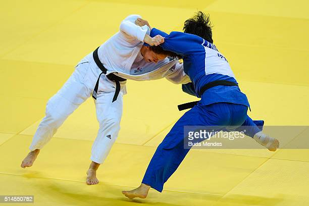 Bekky Livesey of Great Britian fights with Kaho Yonezawa of Japan during the 63kg category women final at the International Judo Tournament Aquece...