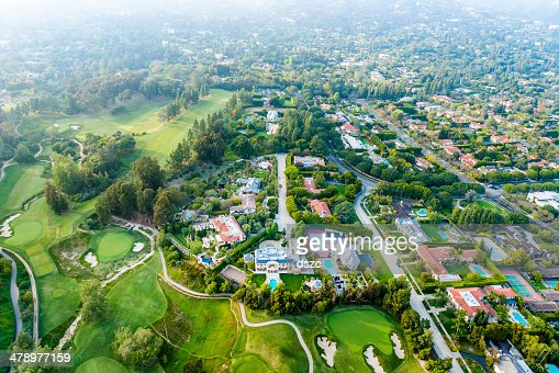 Bel Air Los Angeles neigborhood mansions and golf course, aerial