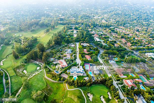Bel Air Los Angeles neigborhood mansions and golf course, aerial