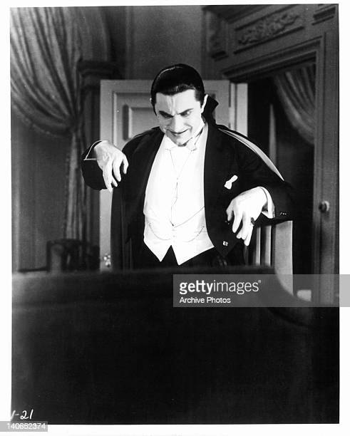 Bela Lugosi looking down as Count Dracula in a scene from the film 'Dracula' 1931