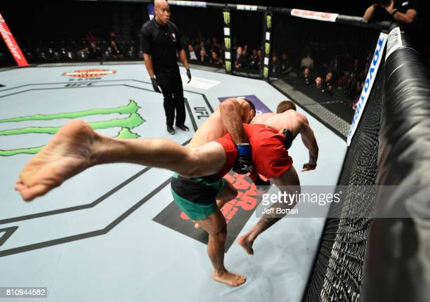 Belal Muhammad takes down Jordan Mein in their welterweight bout during the UFC 213 event at TMobile Arena on July 8 2017 in Las Vegas Nevada