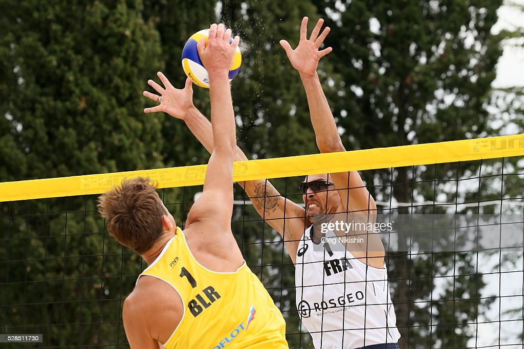 Belarus Aliaksandr Kavalenka and Youssef Krou of France during 3d day of FIVB Sochi Open presented by VTB on May 5, 2016 in Sochi, Russia.
