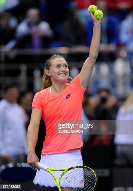 Belarus' Aliaksandra Sasnovich celebrates after beating Switzerland's Viktorija Golubic during the semifinals of the Fed Cup tennis competition...