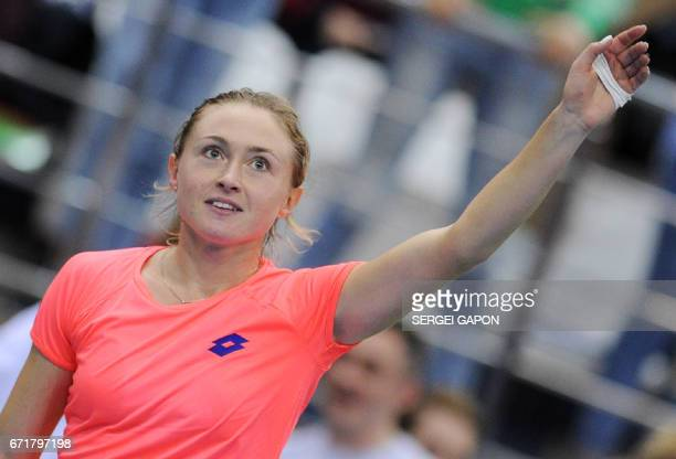 Belarus' Aliaksandra Sasnovich celebrates after defeating Switzerland's Timea Bacsinszky during the semifinals of the Fed Cup tennis competition...