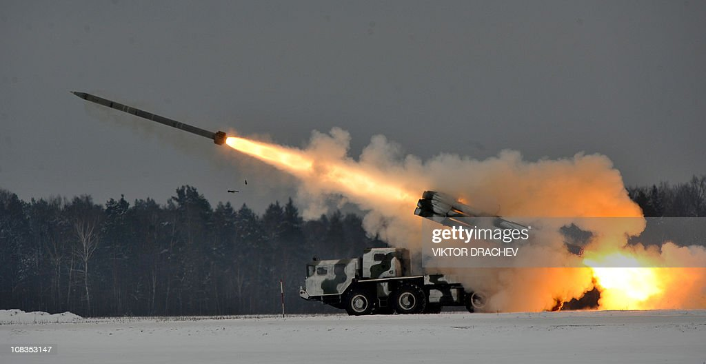 A Belarus army Smerch Sovietmade heavy multiple rocket launcher fires during exercises near the village of Golenchitsy in the Brest region on January...
