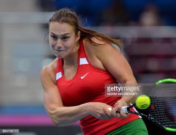 Belarus Aryna Sabalenka returns a ball to Dutch Kiki Bertens during the Fed Cup World Group first round tennis match between Belarus and Netherlands...