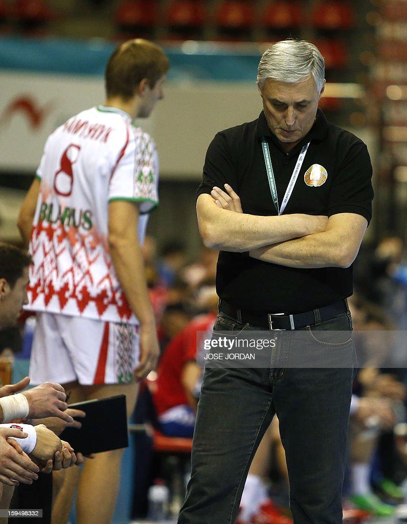 Belarus' coach Iouri Chevtsov reacts during the 23rd Men's Handball World Championships preliminary round Group C match Belarus vs Serbia at the Pabellon Principe Felipe in Zaragoza on January 14, 2013.