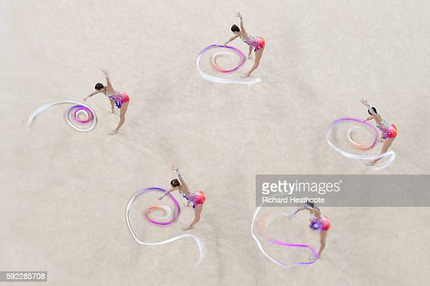 Belarus compete in the Rhythmic Gymnastics Group AllAround Qualification on Day 15 of the Rio 2016 Olympic Games at the Rio Olympic Arena on August...