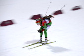 Belarus' Darya Domracheva competes to win gold in the Women's Biathlon 125 km Mass Start at the Laura CrossCountry Ski and Biathlon Center during the...