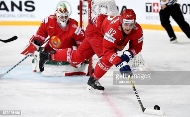 Belarus' defender Roman Graborenko controls the puck during the IIHF Ice Hockey World Championships Group B match Finland vs Belarus on May 5 in...