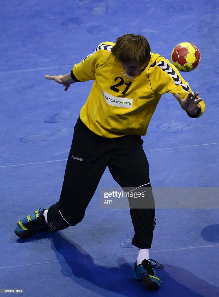 Belarus' goalkeeper Vitali Charapenka tries to stop a shot during the 23rd Men's Handball World Championships round of 16 match Croatia vs Belarus at the Pabellon Principe Felipe in Zaragoza on January 21, 2013.
