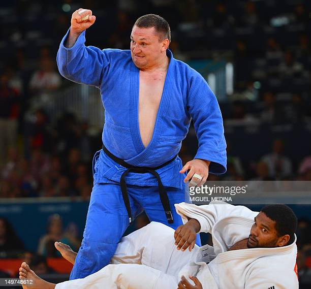 Belarus' Ihar Makarau reacts as he wins against Cuba's Oscar Brayson during their men's 100kg judo contest repechage match of the London 2012 Olympic...
