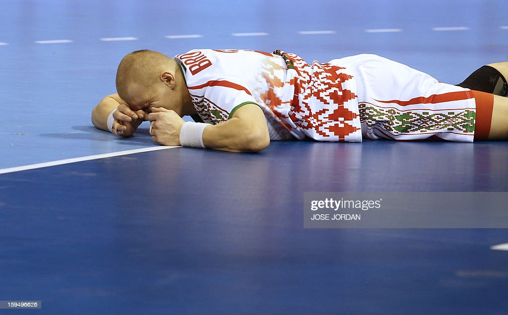 Belarus' left wing Ivan Brouka reacts during the 23rd Men's Handball World Championships preliminary round Group C match Belarus vs Serbia at the Pabellon Principe Felipe in Zaragoza on January 14, 2013.