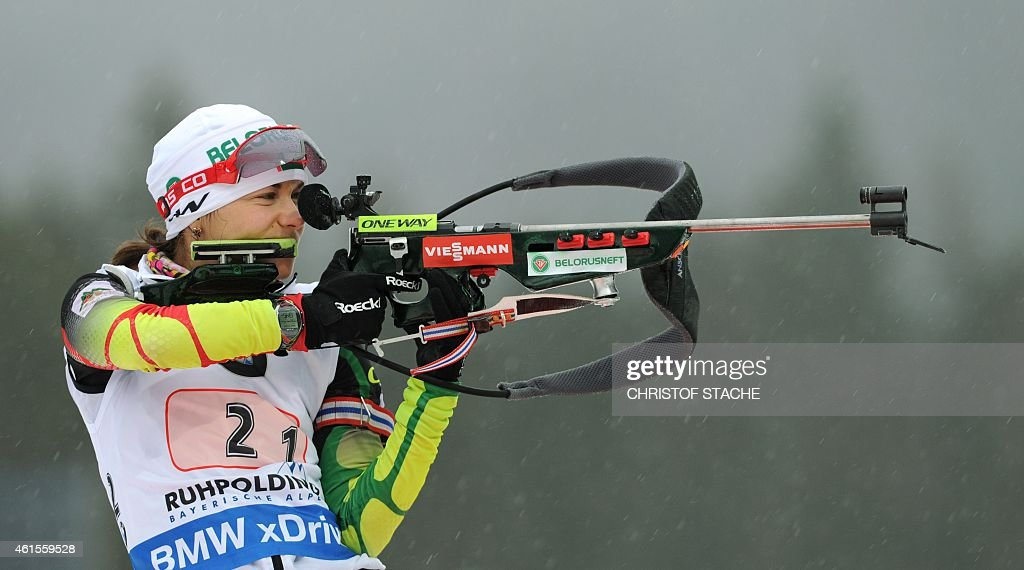 Belarus <a gi-track='captionPersonalityLinkClicked' href=/galleries/search?phrase=Nadezhda+Skardino&family=editorial&specificpeople=4105956 ng-click='$event.stopPropagation()'>Nadezhda Skardino</a> shoots during the women's 4 x 6 km relay at the Biathlon World Cup on January 14, 2015, in Ruhpolding, southern Germany. The Czech team with Eva Puskarcikova, Gabriela Soukalova, Jitka Landova and Veronika Vitkova won the competition, the team of Belarus placed second and the team of Germany placed third.