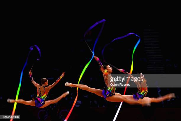 Belarus perform during the Group AllAround Rhythmic Gymnastics Final Rotation 2 on Day 16 of the London 2012 Olympic Games at Wembley Arena on August...