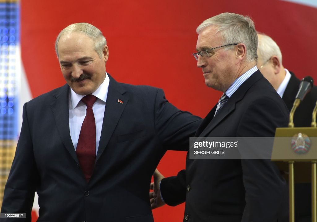 Belarus' President Alexander Lukashenko (L) and Pat McQuaid, President of the Union Cycliste Internationale (UCI), are pictured during the opening ceremony of the Track Cycling World Championships in Minsk on February 20, 2013.