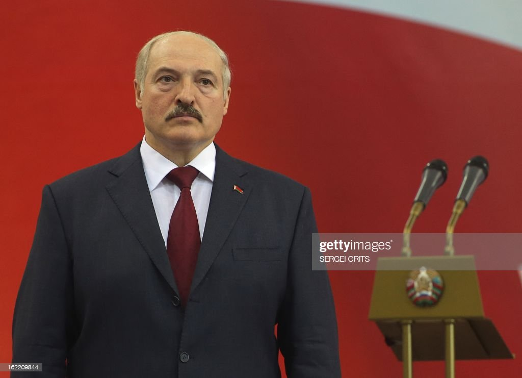 Belarus' President Alexander Lukashenko looks on at the opening ceremony of the Track Cycling World Championships in Minsk on February 20, 2013.