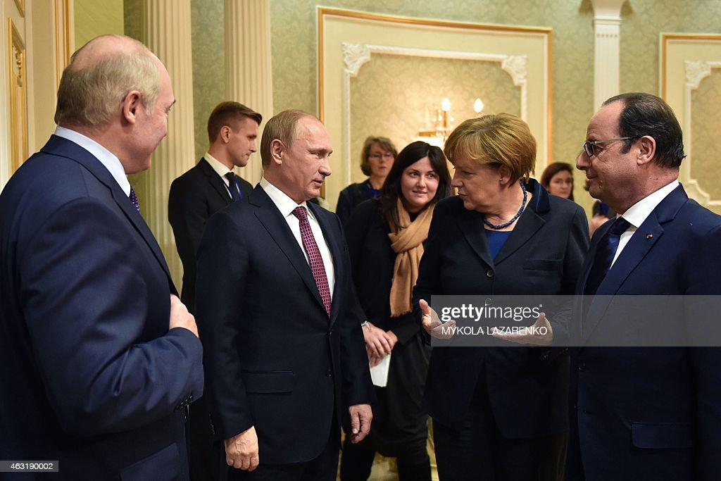 Belarus' President Alexander Lukashenko Russian President Vladimir Putin German Chancellor Angela Merkel and France's President Francois Hollande...
