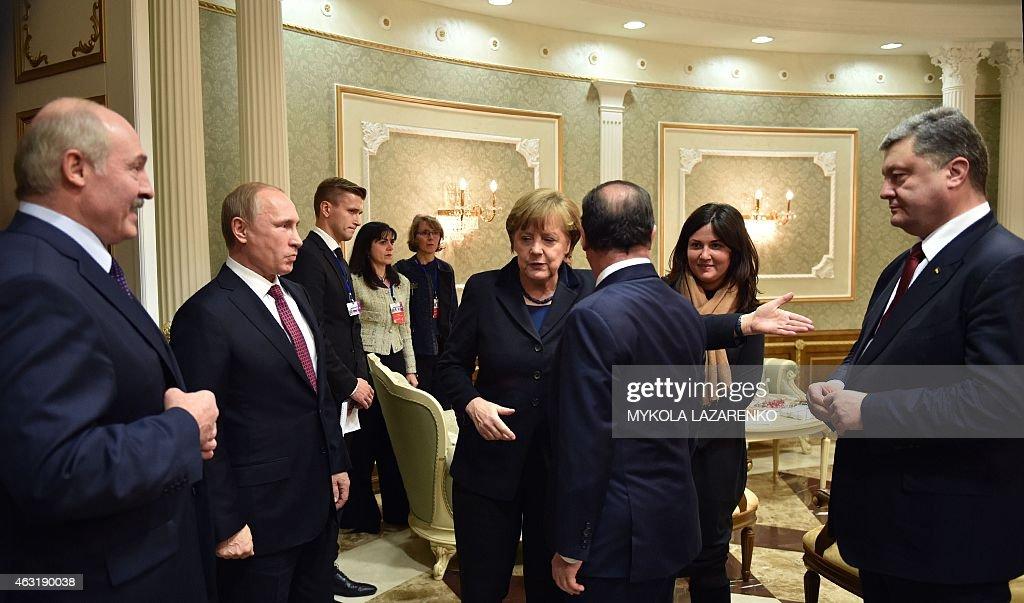 Belarus' President Alexander Lukashenko Russian President Vladimir Putin German Chancellor Angela Merkel France's President Francois Hollande and...
