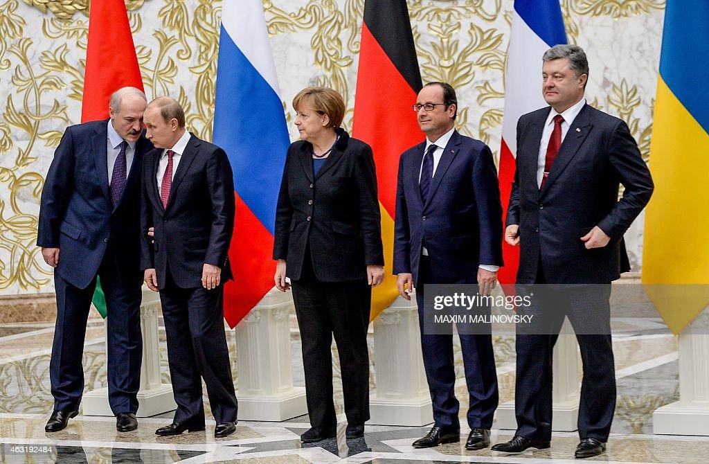 Belarus President Alexander Lukashenko Russian President Vladimir Putin German Chancellor Angela Merkel France's President Francois Hollande and...