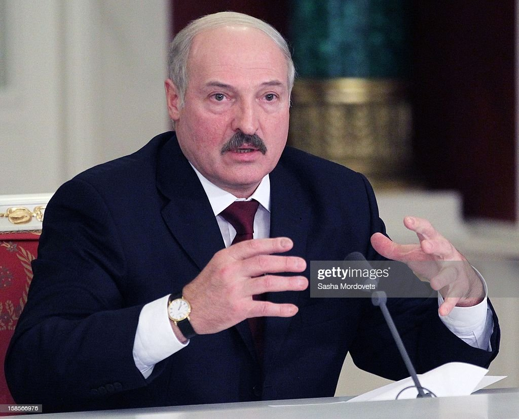 Belarus President <a gi-track='captionPersonalityLinkClicked' href=/galleries/search?phrase=Alexander+Lukashenko&family=editorial&specificpeople=542572 ng-click='$event.stopPropagation()'>Alexander Lukashenko</a> speaks during the Summit of Collective Security Treaty Organisation (CSTO) on December 19, 2012 in Moscow, Russia. Leaders of Russia, Belarus, Kazakhstan, Kyrgyzstan and Armenia have gathered at the Kremlin in Moscow for the summit.