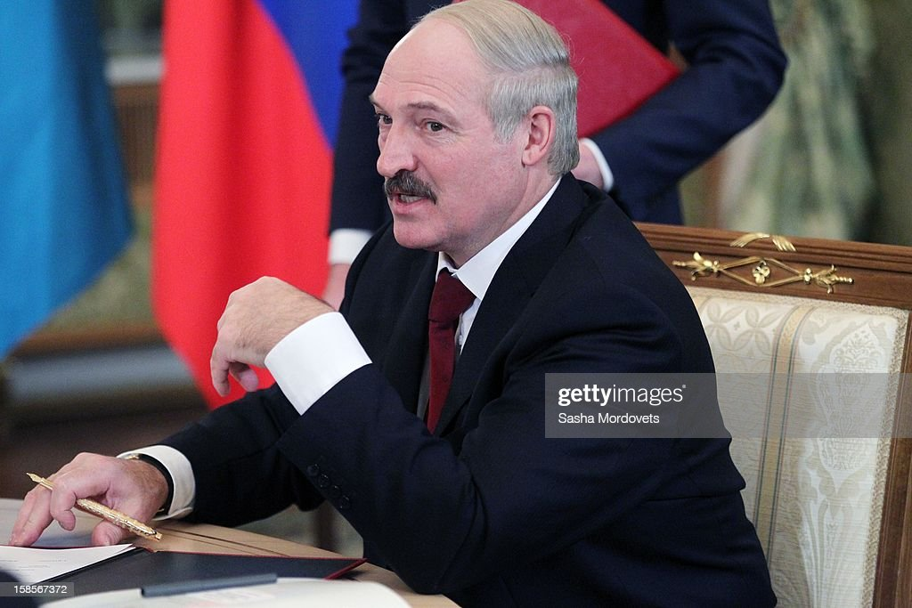 Belarus President Alexander Lukashenko speaks during the Summit of Collective Security Treaty Organisation (CSTO) on December 19, 2012 in Moscow, Russia. Leaders of Russia, Belarus, Kazakhstan, Kyrgyzstan and Armenia have gathered at the Kremlin in Moscow for the summit.