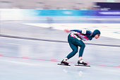 Belarus speed skater Lyudmila Kostyukevich competes in the women's 1000m at MWave during the 1998 Winter Olympic games