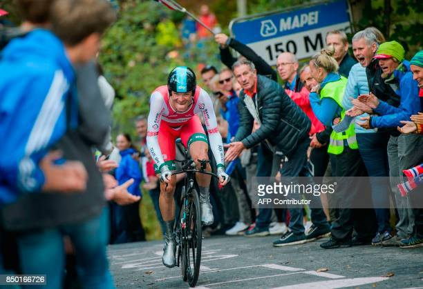 Belarus' Vasil Kiryienka competes during the men elite individual time trial at the UCI Cycling Road World Championships on September 20 2017 in...
