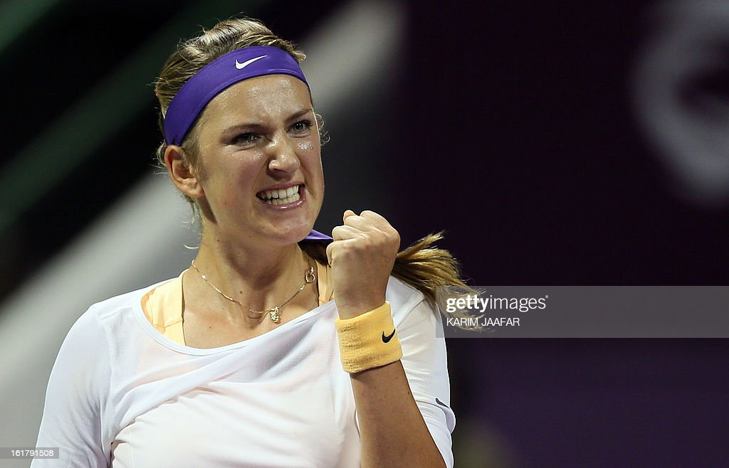 Belarus Victoria Azarenka gestures after defeating Agnieszka Radwanska of Poland during their WTA Qatar Open semi-final tennis match on February 16, 2013 in the Qatari capital, Doha. Azarenka won 6-3, 6-3.