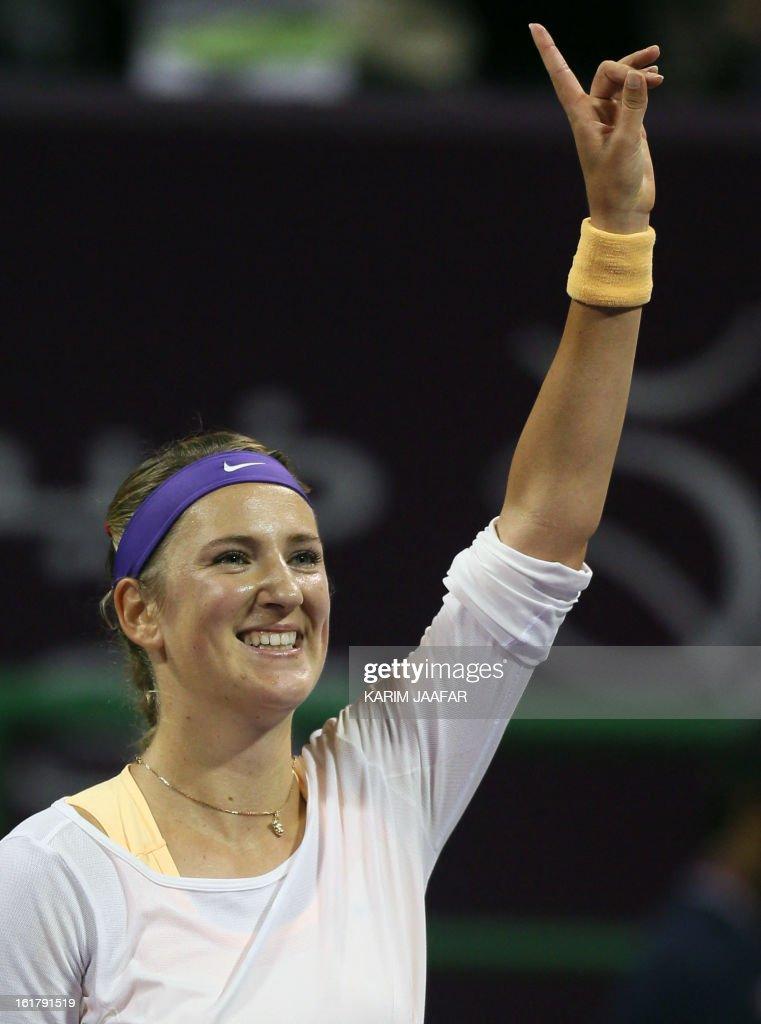Belarus Victoria Azarenka gestures after defeating Agnieszka Radwanska of Poland during their WTA Qatar Open semi-final tennis match on February 16, 2013 in the Qatari capital, Doha. Azarenka won 6-3, 6-3. AFP PHOTO / AL-WATAN DOHA / KARIM JAAFAR == QATAR OUT ==