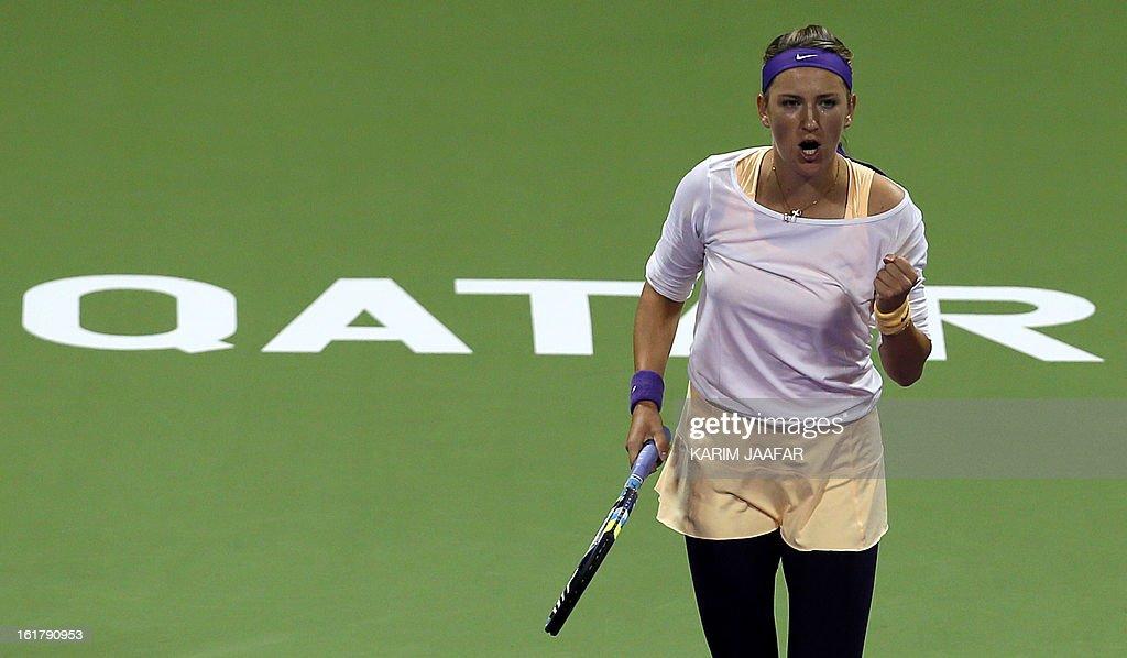 Belarus Victoria Azarenka gestures after winning a point against Agnieszka Radwanska of Poland during their WTA Qatar Open semi-final tennis match on February 16, 2013 in the Qatari capital, Doha.